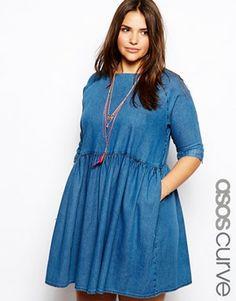ASOS CURVE - Robe à smocks en jean
