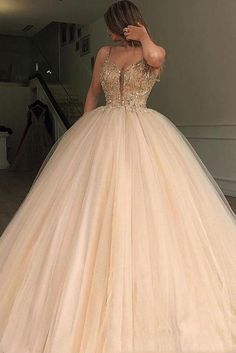 Charming Gorgeous Spaghetti Straps Tulle Long Popular Prom Dresses with bead, party queen dress , Sweet 16 Dresses, 15 Dresses, Elegant Dresses, Pretty Dresses, Beautiful Dresses, Formal Dresses, Evening Dresses, Sexy Dresses, Dresses Online