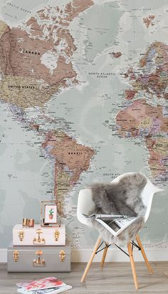 Executive political world map wallpaper mural room setting beans this map wallpaper makes a stunning feature wall in living room spaces with muted tones and brilliant detail its perfect for multiple rooms in the home gumiabroncs Choice Image