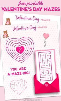 Free Printable Valentine's Day Activity Sheets: Word Search & Maze - Lovely Planner - Free Printable Valentine's Day Maze Activity Sheet. Free Valentines Day Cards, Valentines Day Words, Valentines Day Decorations, Valentines Day Party, Printable Valentine, Printable Day Planner, Valentine's Day Printables, Activity Sheets For Kids, Valentines Day Activities