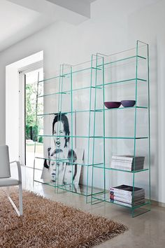 Freestanding glass bookcase OLYMPIA by  @sovetitalia