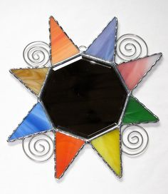 Stained+Glass+Mirror++Multicolored+Star+Mirror++Wire+by+GLASSbits,+$42.00