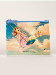 Ladies, justify your emotions and change with a mood swing coin purse. This awesome style is made by Blue Q with recycled post consumer material. Cartoon Outfits, Mood Swings, Cool Style, Coins, Nerd, Pouch, Girly, Funny, Cute