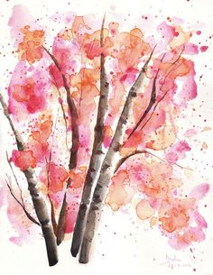 Watercolor landscape nature. trees and branches. Poster illustration. watercolor print
