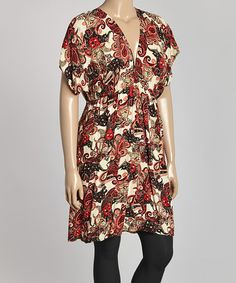 Another great find on #zulily! Red & Cream Paisley Elephant Empire-Waist Dress - Plus #zulilyfinds