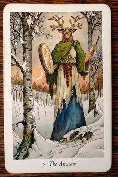 The Ancestor - Wild Wood Tarot. Equivalent numerically to The Emporer in the Rider Waite deck.. but I read her COMPLETELY different.