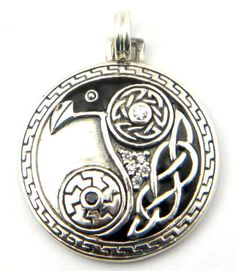 Sterling Silver Celtic Raven Odin Knotwork Disk Charm - This uniquely beautiful Celtic raven pendant is a perfect gift for those who love the mystery and magic of the raven. $65.00 Celtic Raven, Irish Celtic, Celtic Art, Crow Art, Raven Art, Vikings, Design Celta, Celtic Symbols, Celtic Designs