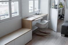 """Laconic And Functional Paris 900 sq. ft. Loft With Built-In Storage - """"Office/Work"""" Space Just Outside the Entrance to Nursery DigsDigs - image 5 of 8◆"""