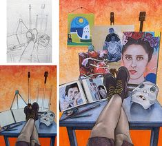 This outstanding Painting and Related Media Coursework project was awarded Top in the World for the CIE examinations. It explores self-portraiture and 'Identity'. Student Art Guide, A Level Art Sketchbook, Sketchbook Ideas, Mixed Media Artwork, Identity Art, Gcse Art, Ap Art, Animal Tattoos, Portfolio