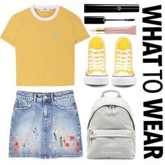 A fashion look from August 2017 featuring MANGO skirts und Converse sneakers. Browse and shop related looks. Yellow Converse, Outfits With Converse, Converse Sneakers, Converse Backpack, Casual Summer Outfits, Cool Outfits, Amazing Outfits, All Star, Teen Fashion
