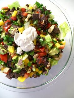 """Chopped """"chicken"""" salad with vegan ranch dressing. Easy recipe with tons of fresh ingredients! #vegan #recipe"""