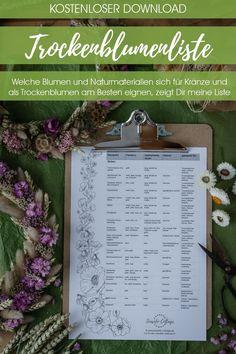 3 Ideen für Deinen Trockenblumenkranz in verschiedenen Varianten und mit Materialliste. Mit gekauften Trockenblumen, selbst getrocknet oder frisch gebunden Diy Pins, Nigella, Seaside, Creative, Blog, Wreaths, Inspiration, Diy Gifts, Creative Ideas