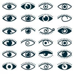Different eyes icon collection Free Vector