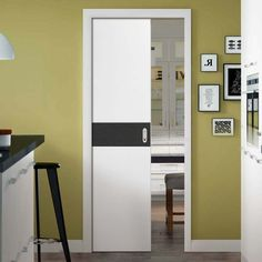 Single Pocket Asti White and Dark Grey Flush Door - Prefinished - Lifestyle Image. #contemporarydoor #moderndoor