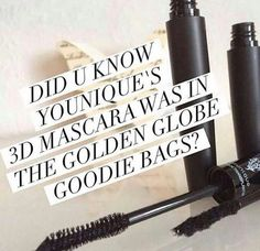 Did you know Younique's 3D fiber lash mascara was in the Golden Globe goodie bags? 3D fibre lash mascara - make up worn by celebrities.