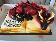 Dungeons and Dragons Groom's Cake. Dragon Wedding Cake, Camo Wedding Cakes, White Wedding Cakes, Wedding Cake Designs, Wedding Cake Toppers, Wedding Ideas, Dragon Birthday Cakes, Dragon Birthday Parties, Dragon Cakes