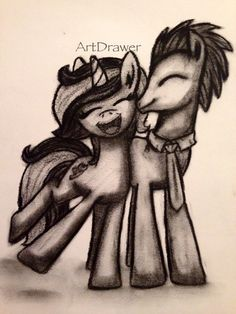 Charcoal drawing of my little pony unicorn and earth pony by @Doodle Drawer