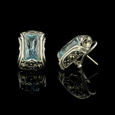 John Hardy Sterling Silver and 18K Yellow Gold Blue Topaz Batu Kawung Earrings