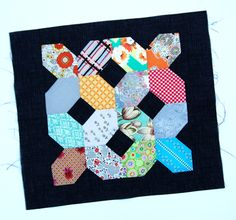 Lily's Quilts: Lazy Days Lozenges EPP block also known as a elongated hexie or honeycomb...there is a download available this is the one used for making the patchwork of crosses