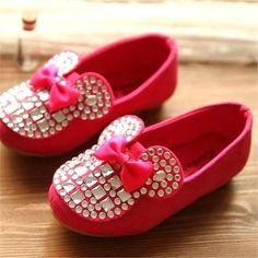 Minnie Mouse Print Rhinestone Girl Shoe