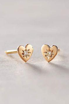 Diamond Mini Heart Studs - anthropologie.com