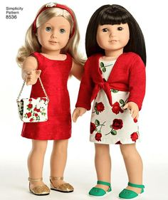 American Girl 18 Doll Clothes. Sew pretty dresses, tops, skirts, and accessories for an 18 American Girl doll. Make a fit and flare dress or a shift dress, and style it with a cute tie front sweater. Basic short sleeve top and ruffle skirt also included in pack. Accessorize your doll with a