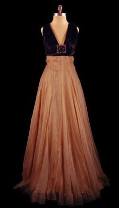 1930s pink onion skin silk chiffon gown with black velvet bodice (TheFrock.com)
