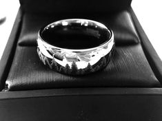 Friends of Irony Black Tungsten Carbide Yin Yang Wolf Ring 12mm Wedding Band Anniversary Ring for Men and Women Size 11