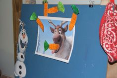 Our FROZEN party games- feed Sven carrots, musical snowflakes (draw snowflake on paper plates and place on floor, snow ball fight with cotton balls (a blast).