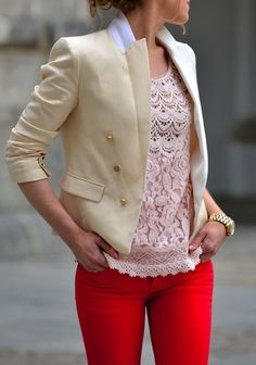Double breasted blazer.