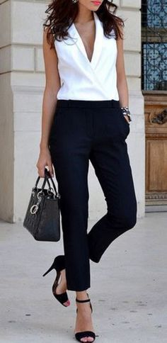 Looks I LOVE! Black and White Pocket Design White Black Spliced Jumpsuit #Chic #Stylish #Street #Style #Fashion #Outfit #Ideas