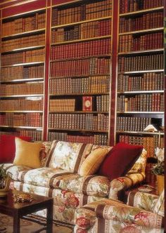 Celebrity Home Libraries -This is Brook Astor's red-lacquered library, designed for her Park Avenue apartment by Albert Hadley. It is apparently a very famous room among interior designers
