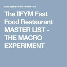 The IIFYM Fast Food Restaurant MASTER LIST - THE MACRO EXPERIMENT