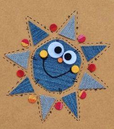 Jean Crafts, Denim Crafts, Diy And Crafts, Crafts For Kids, Fabric Postcards, Fabric Cards, Artisanats Denim, Karten Diy, Paper Birds