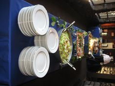 Buffet using our pewter equipment. Lemon leaves. White with double silver band china.