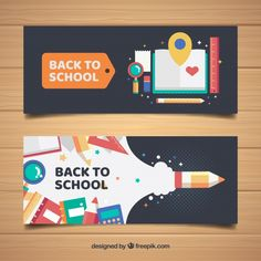 Cool banners with school materials in flat design Free Vector