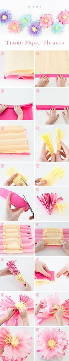 DIY Tissue Paper Flowers #diypartydecorationscheap