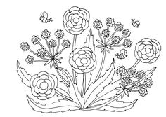 Coloring Pages of Flowers — Happies Detailed Coloring Pages, Flower Coloring Pages, Free Coloring Pages, Coloring Books, Wonderful Flowers, Flowers For You, Iris Flowers, Black And White Flowers, Hand Drawn Flowers