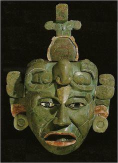 Tikal Mayan ruins, Guatemala - Mayan Jadeite mask, Tomb 160. Early Classic Period.
