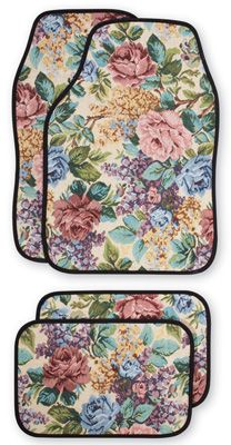 Floral Front & Rear Car Mats - Set of 4