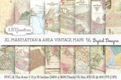 XL MANHATTAN & AREA VINTAGE MAPS by Artfanaticus on @creativemarket