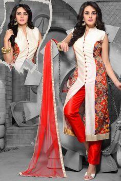Designer Art Silk Churidar Kameez with Dupatta - # EID Salwar Designs, Blouse Designs, Indian Attire, Indian Wear, Indian Style, Pakistani Outfits, Indian Outfits, African Fashion, Indian Fashion