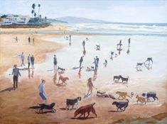Smiling Dogs  WENDY GAUNTLETT-SHAW - ARTIST  Del Mar Dog Beach