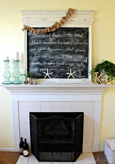 Summer Mantel with Chalkboard at www.mom4real.com