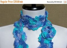 Queen Anne Scarf - Lacy Turquoise, Lavender, Periwinkle Blue with Flower Pin Brooch - Ready to Ship Women's Crochet Girl's Long Scarf Lace