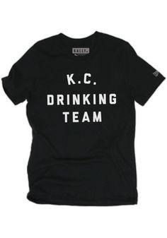 RALLY Kansas City Local Stuff Shop Mens Black Drinking Team Fashion Tee