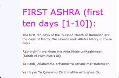 First 10 days of Ramadhan