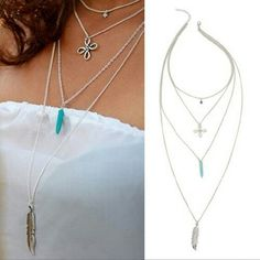 Turquoise pendant choker Super cute to complement your outfit.   4 layer necklace Jewelry Necklaces