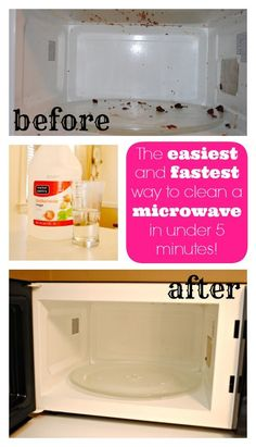 Pour a glass of vinegar in a microwave-safe bowl, high for like 2 minutes till it boils and let it sit for 5 minutes. Then wipe with a wash cloth or paper towel. So easy and it works! Do not microwave it too long, it will blow the microwave door open.