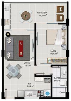 apartamento de 1 quarto planta - Pesquisa Google